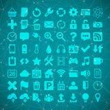 64 universele Vlakte VectordiePictogram voor Webdesighers wordt geplaatst, ui, plaatsen, Stock Afbeeldingen
