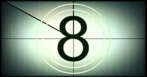 Universell filmledare, symbol som räknar ner från 8, med skärmen för chromatangentgräsplan på finalen, tappningstil stock illustrationer