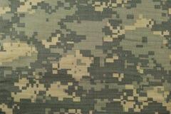 Universell kamouflagemodell, enhetlig digital camo för arméstrid, closeup för USA militär ACU-makro, detaljerat stort reva-stopp