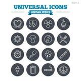 Universell linjär symbolsuppsättning Gör översiktstecken tunnare Royaltyfri Foto