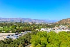 UNIVERSELL STAD, CA - JUNI 12, 2017: Sikt av universella studior i Los Angeles arkivbilder