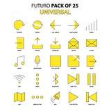 Universell symbolsuppsättning Gul packe för Futuro senast designsymbol vektor illustrationer