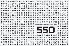 Universell uppsättning av 550 symboler Fotografering för Bildbyråer