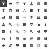 Universell uppsättning för affärs- och finansvektorsymboler Arkivfoto