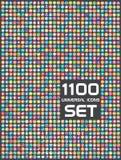 Universell uppsättning av 1100 symboler Arkivfoto