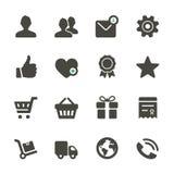 Universell vektorsymbolsuppsättning. Profil favoriter, shopping, service Arkivfoton