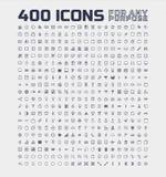 400 universella symboler för några avsikt vektor illustrationer