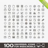 100 universella symboler för rengöringsduk och mobil Arkivfoto