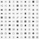 100 universella symboler för rengöringsduk och mobil royaltyfri illustrationer