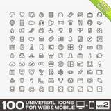 100 universella symboler för rengöringsduk- och mobilvolym 2 Arkivfoton