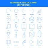 Universella symboler - packe Futuro blå för 25 symbol royaltyfri illustrationer