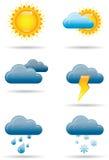 Universella vädersymboler stock illustrationer