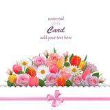 Universellt kort med rosor, tulpan och kamomillar Royaltyfria Bilder