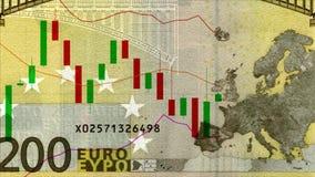 Universellt prisdiagram av euroet med det plana trenddiagrammet vinkar animerade nya unika kvalitets- citationstecken för forexdi stock illustrationer