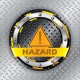 Universellt varningstecken på den metalliska plattan vektor illustrationer