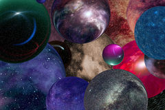 Universes multiple. Abstract background science cosmic illustration: multiple universes in the infinite space royalty free stock image
