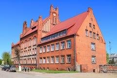 Universidad agra de Gusev del edificio construida en el estilo neogótico Imagen de archivo
