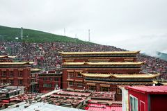 Universidad budista en Sichuan, China foto de archivo libre de regalías