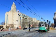 Universidad de Boston y Línea Verde del metro, mA, los E.E.U.U. Foto de archivo