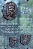 Universidad de Jagiellonian de la placa conmemorativa Cracovia, Polonia Fotos de archivo libres de regalías