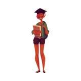 Universidad, muchacha del estudiante universitario en el casquillo de la graduación que sostiene los libros de texto Imágenes de archivo libres de regalías