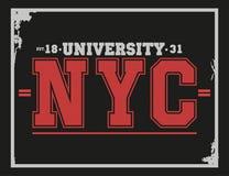 Universidad, tipografía de Nueva York de la universidad, gráficos de la camiseta libre illustration