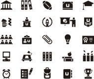 Universidad y sistema del icono de la educación Foto de archivo libre de regalías