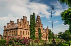 Universidade antiga e a residência de Bukovina metropolitano, Chernivtsi, Ucrânia foto de stock