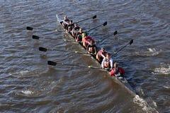 A universidade de UGA compete na cabeça da faculdade Eights do ` s de Charles Regatta Men Fotografia de Stock
