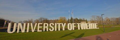 Universidade do sinal da letra de Twente, Enschede, vista panorâmica fotografia de stock royalty free