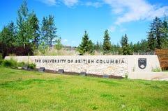 Universidade do sinal do Columbia Britânica Imagem de Stock Royalty Free