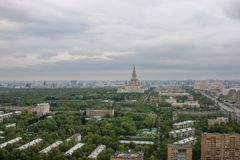 Universidade estadual de Moscou, vista, Moscou, panorama, cidade, casas, altura, telhando fotografia de stock royalty free