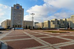 Università di Maxim Tank Belarusian State Pedagogical sul quadrato di indipendenza a Minsk belarus fotografia stock libera da diritti