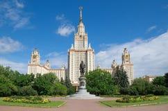 Università di Stato di Mosca chiamata dopo M V Lomonosov Monumento a Mikhail Lomonosov Immagini Stock