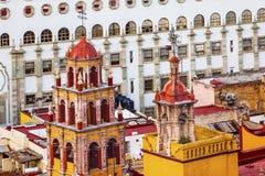 Università la nostra signora Towers Spires Basilica Guanajuato Messico Fotografie Stock