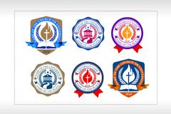 Université, école, type ensemble, logo chrétien de logo d'église d'établissement illustration libre de droits