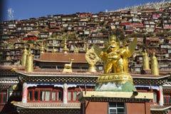 Université bouddhiste de Larong Wuming s dans les sedums Photographie stock