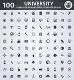 Universitaire Geplaatste Pictogrammen Royalty-vrije Stock Afbeelding