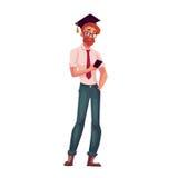 Universitaire student in de vierkante glazen en telefoon van de graduatieglb holding vector illustratie