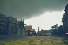 Universitatii Square from bucharest in a stormy summer afternoon Royalty Free Stock Images