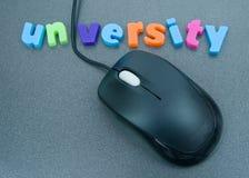 Universiteit: een enkel klik weg. Stock Foto's