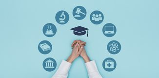 Universiteit en onderwijspictogrammen royalty-vrije stock foto's