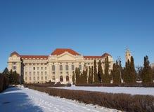 Universiteit van Debrecen in de winter Stock Fotografie