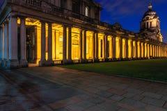 Universiteit van Greenwich bij Nacht Royalty-vrije Stock Afbeeldingen