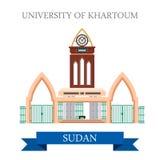 Universitet av vektorn för Khartoum Sudan lägenhetstil dåligt royaltyfri illustrationer