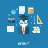 Universitetbegrepp med objektsymboler Arkivbilder