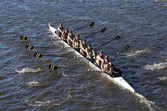 Universitetet av den Colorado stenblocket springer i huvudet av Charles Regatta Mens högskola Eights arkivfoto