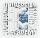 Universitethögskolan uttrycker den öppna dörren till din framtid Fotografering för Bildbyråer