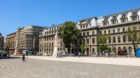 Universitets fyrkant och universitet av den Bucharest forsen i April 2018, Rumänien royaltyfri foto