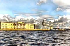 Universitetskaya堤防看法在圣彼德堡 库存例证